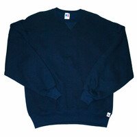 Vintage 90s Navy Blue Russell Athletic Crewneck Sweatshirt Made in USA Mens Size Large