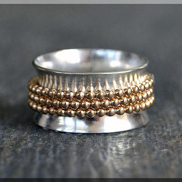 Sterling Silver and 14k Gold Filled Spinner Ring, Worry Ring, Fidget Ring, Personalized Family Ring, Mixed Metal Ring, Index Finger Ring