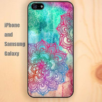 watercolor Mandara colorful iphone 6 case 6 plus iPhone 5 5S 5C case Samsung S3, S4,S5 case, Ipod touch Silicone Rubber Case, Phone cover