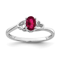Sterling Silver Created Ruby Birthstone Double Heart Ring