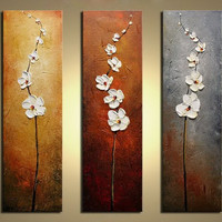 hand painted flowers Dancing Petals Modern Canvas Art Wall Decor Floral Oil Painting Wall Art  pictures for living room 3 pieces