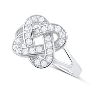 Sterling Silver Cz Lovers Knot Ring