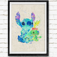 Stitch and Scrump Doll Watercolor Print, Stitch and Lilo Baby Nursery Decor, Wall Art, Home Decor, Gift Idea, Not Framed, Buy 2 Get 1 Free!