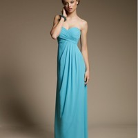 Beautiful Floor Length Strapless Party Dress With Pleated Bodice And Draped Chiffon Overlay ML642