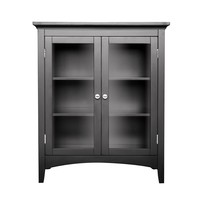 Dark Espresso Freestanding Bathroom Floor Cabinet with Storage Shelves