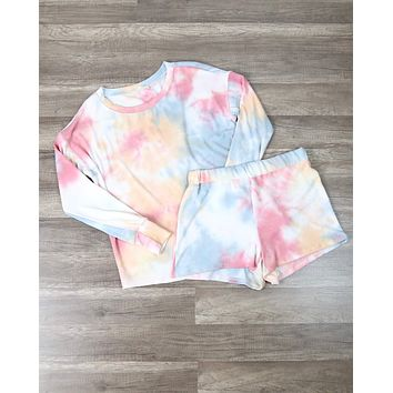 Tie Dye Print Sleep Lounge Wear Set - Cherry & Blue