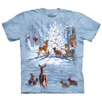 WILDERNESS CHRISTMAS Tree The Mountain Winter Snow Animals T-Shirt S-3XL NEW