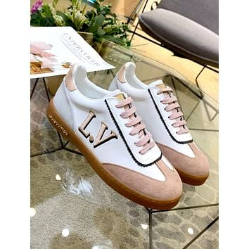 LV FRONTROW 2019 new female models wild casual color matching strap flat bottom shoes Pink