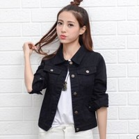 Denim Jacket Women Short Jeans Overcoat Ladies Jackets Tops cowboy jacket Collar Slim White Black Jeans  Women High Quality