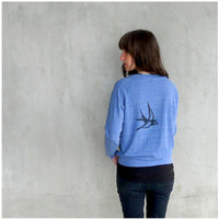 Eco-friendly womens pullover - spring fashion - birdcage print on heather blue raglans - gift for her - S/XL - One That Got Away