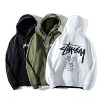 STUSSY 2018 new street fashion brand classic embroidery fake two men and women plus velvet hooded sweater