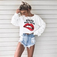 Women Casual Letter Big Mouth Pattern Print Long Sleeve Sweater Tops