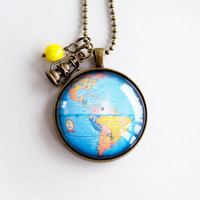 Blue Globe Necklace - Large Map Pendant Necklace - Adoption Jewelry - North and South America - Personalized - Missions