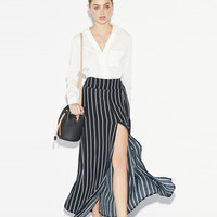 Black Striped Maxi Skirt with Slits