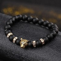 Leopard Beaded Bracelet for Men