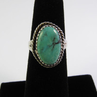 Vintage Sterling Silver Turquoise Ring, Native American Ring, Navajo Ring, Vintage Turquoise Ring Size 4.75