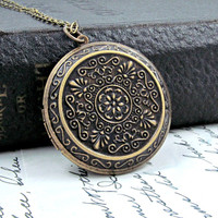 Sonia -Large Boho Locket Necklace Victorian Pendant
