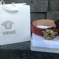 Red Versace Belt, Gold medusa Buckle - Red strap Size 34-38 105cm