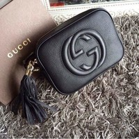 Gucci Stylish Tassel Women Zipper Leather Shoulder Bag Satchel Crossbody Silver I