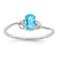 Sterling Silver Sky Blue Topaz Oval and Diamond Ring