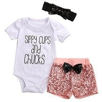 born Baby Girl Clothes Set cups Romper + Sequin Shorts Outfits Toddler Kids Clothing