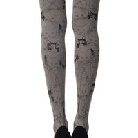 Zohara Grey Opaque Tights Cat Print