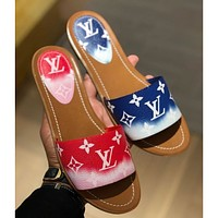 Louis Vuitton LV new ladies color matching printed letters casual home sandals slippers Blue