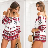 Fashion Flower Print Off Shoulder Long Sleeve Romper Jumpsuit Shorts