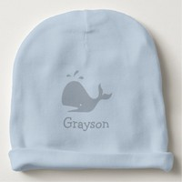 Personalized blue baby hat with cute whale logo baby beanie