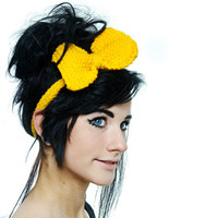 Retro Cute Knit Headband - Big Knitted Yellow Bow More colours available