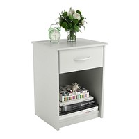 Bedroom 1-Drawer End Table Nightstand in White Wood Finish