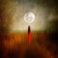 woman in red, walking to the moon Stretched Canvas by Viviana González