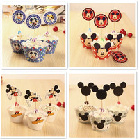 Mickey mouse theme party series 12pcs cupcake wrapper+12pcs topper for baby shower 1st birthday party decoration supplies