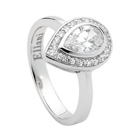 Ellani Sterling Silver White Cubic Zirconia Pear Cut with White Cubic Zirconia Claw Set Surround Ring