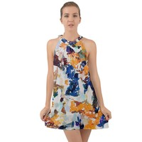 Paint On A White Background Halter Tie Back Chiffon Dress