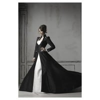 Gothic Black Long Sleeved Taffeta Winter Wedding Gown - Star Bridal Apparel
