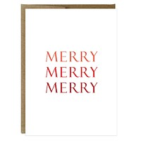 Merry Merry Merry Holiday Greeting Card