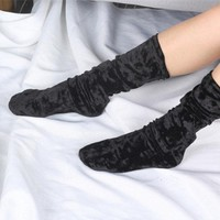 Women Elegant Shining Gold Velvet Heap Socks Street Snap Vintage 5 Colors Breathable Tube Socks