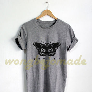 Harry Styles Shirt Styles Tattoo Tshirt Grey and White Color T-Shirt