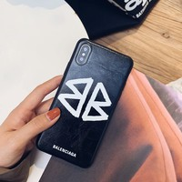 Leather BALENCIAGA Case for iPhone XS Max/XR 7P 6S