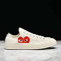 CDG PLAY X CONVERSE CHUCK TAYLOR ALL STAR '70 OX - WHITE - Best Deal Online
