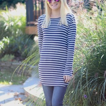 Striped Top in Navy