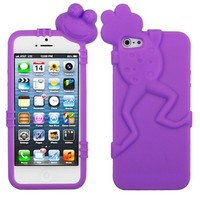 Purple Frog Silicon Soft Rubber Skin Case Cover For Apple iPhone 5S 5SE with Free Pouch