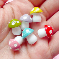 3D Mushroom Cabochon (6 pcs) (Red, Yellow, Pink, Purple, Green, Blue) 13mm x 11mm Kawaii Cabochon Cell phone Deco Jewelry Making CAB147