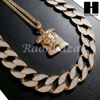 """Iced Out 14k Gold PT Thug Jesus Face 15mm Cuban 30"""" Chain/Concave Necklace S169"""