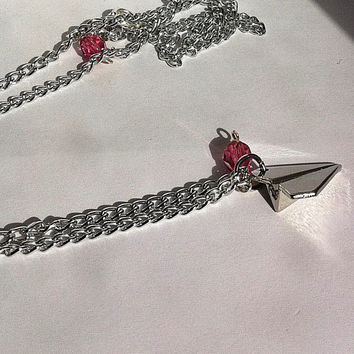 cute origami paper airplane charm necklace with pink crystal, valentines day gifts