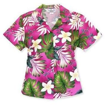 amazon pink hawaiian lady blouse