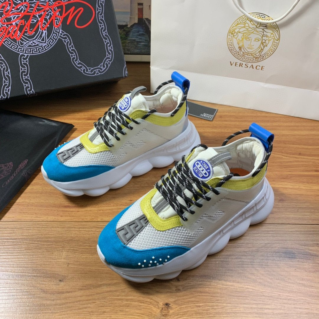 Image of Versace Men's And Women's Leather Chain Reaction Sneakers Shoes