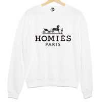 HOMIES PARIS SWEATER mens womens fashion hipster style cool trendy chic boho vtg retro indie xs s m l celebs white black dope swag tumblr **