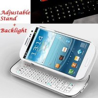 Case MaMa Multifunction Bluetooth Keyboard Case Sliding Function + Standing Function + Backlight Function + 12 Button Specially Designed (Galaxy S3, White)